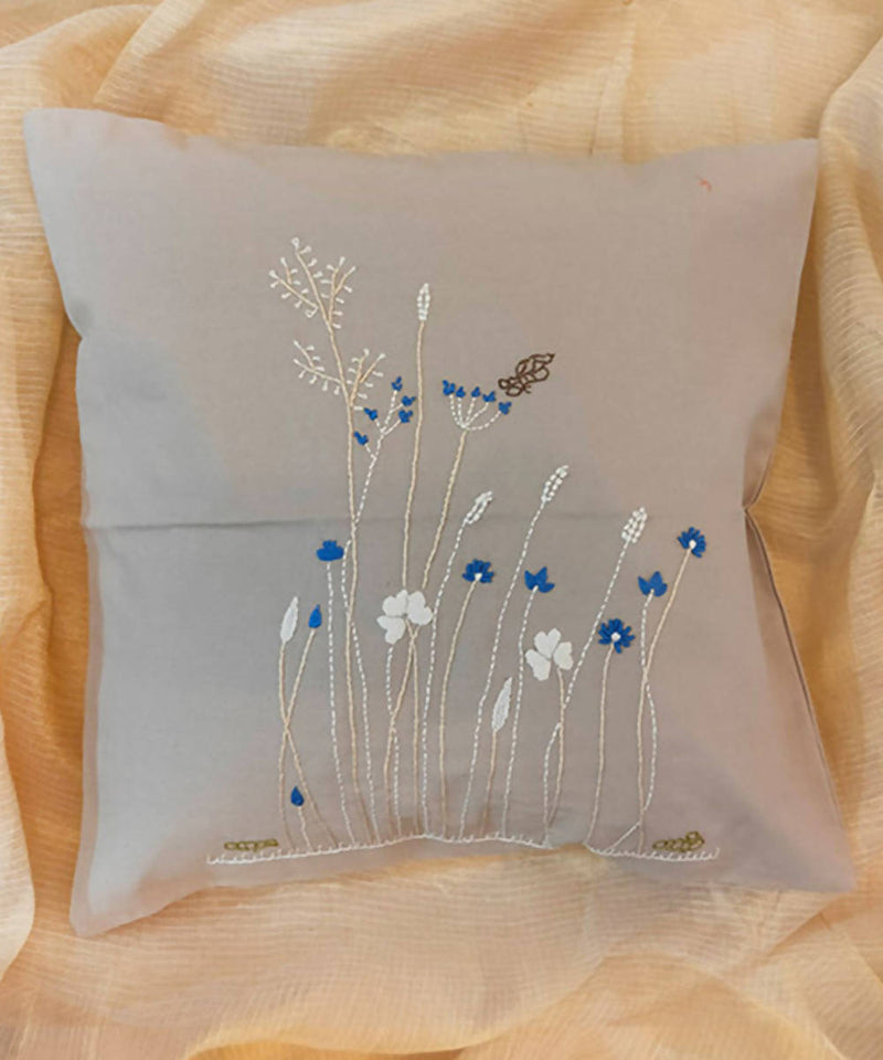 Grey hand embroidery floral cotton cushion cover