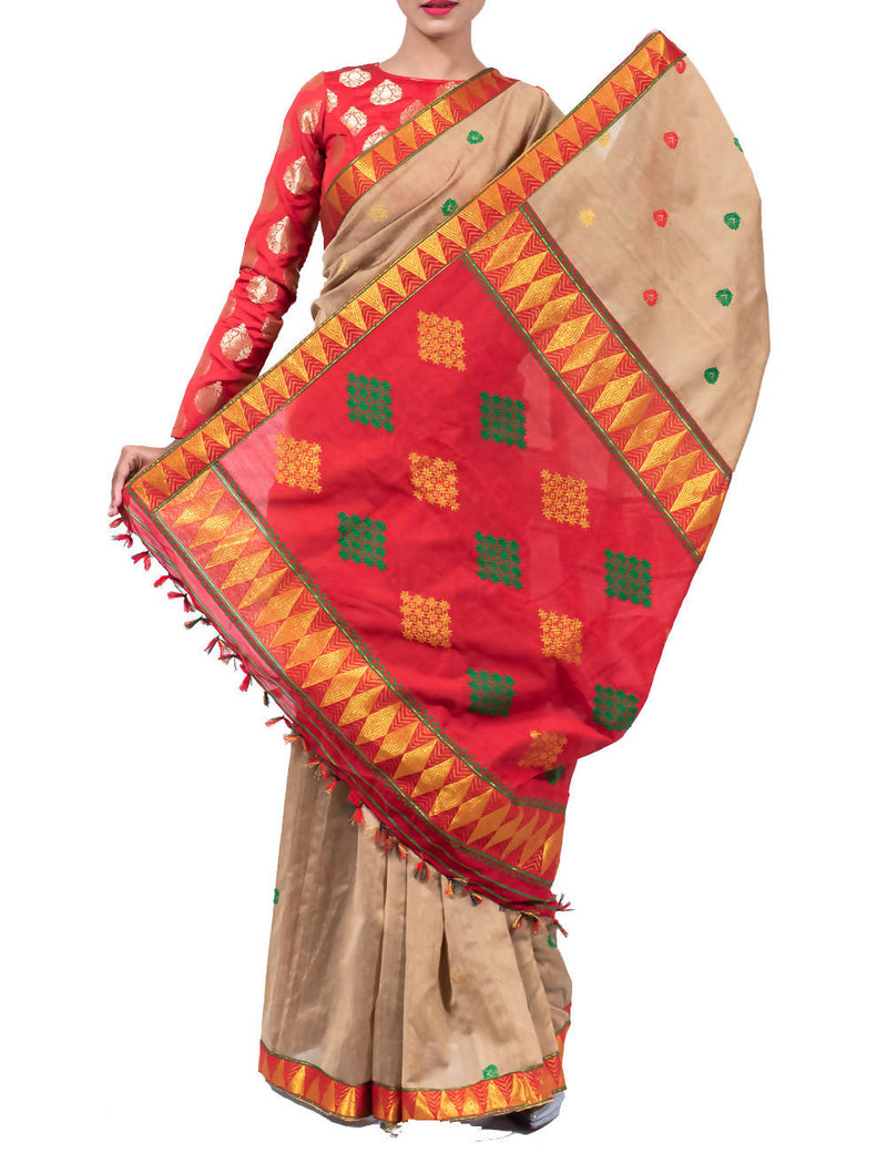 Beige Brown Assam handloom Cotton Saree