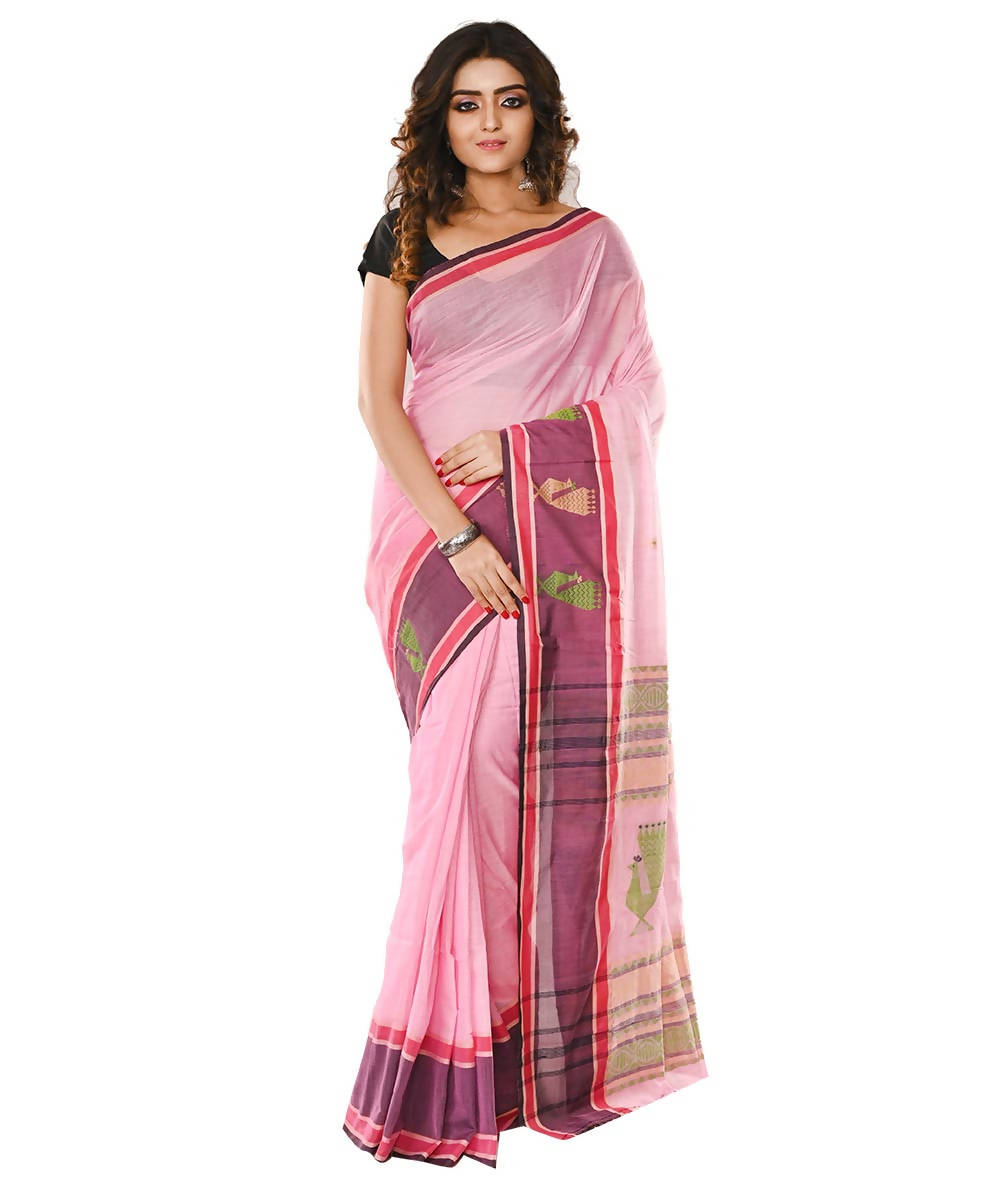 Bengal Pink Handloom Cotton Saree