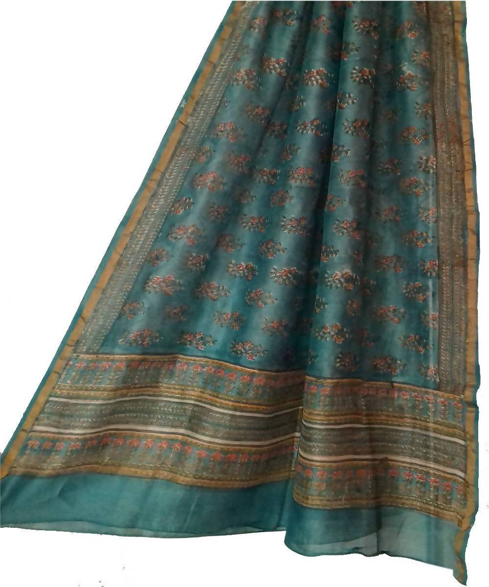 Sea Blue Handblock Printed Chanderi Dupatta