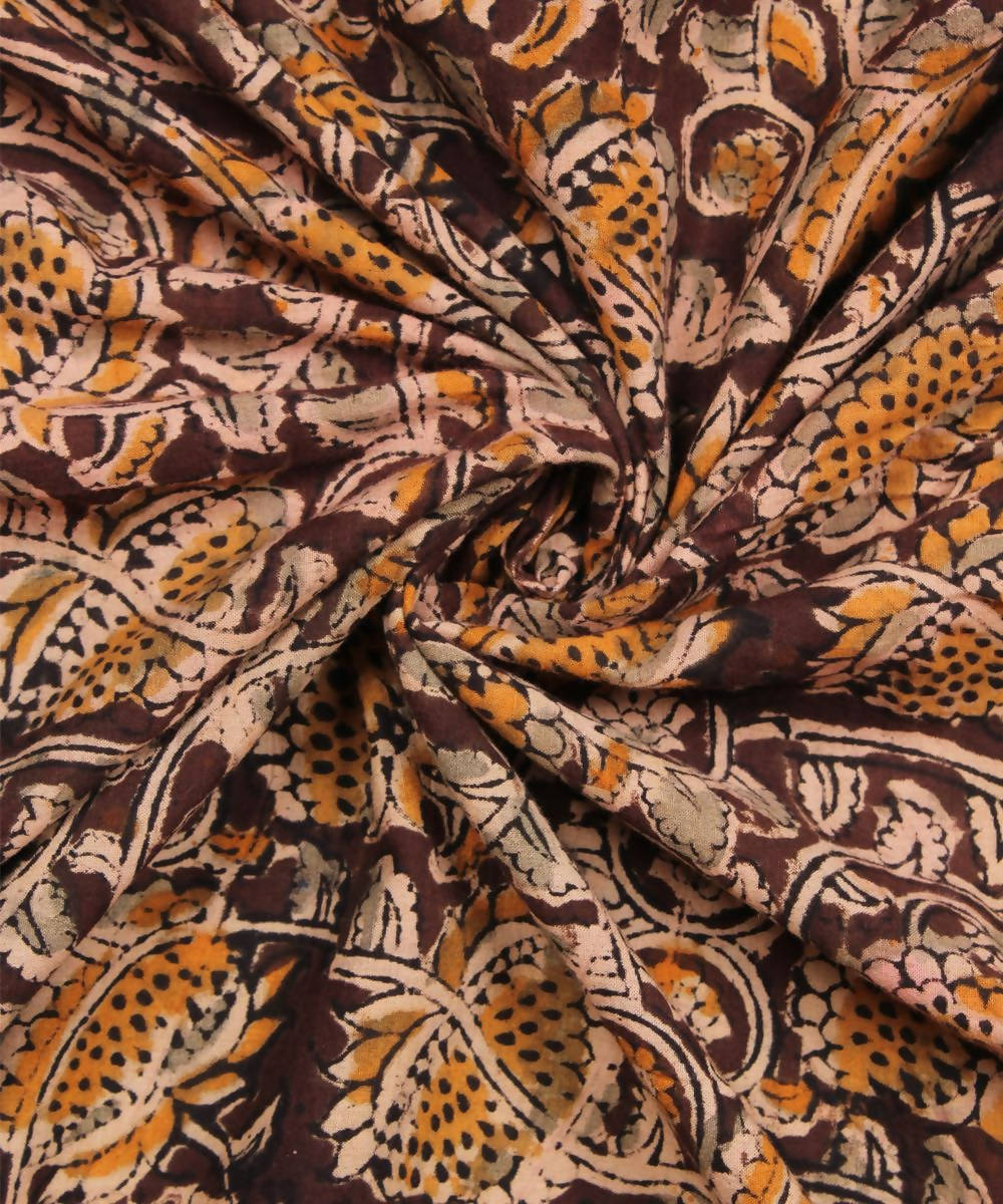 Brown handblock kalamkari print cotton fabric