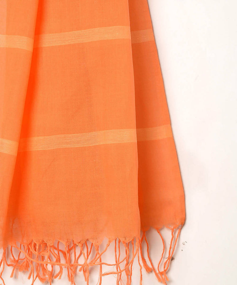 Orange handwoven fulia cotton striped stole