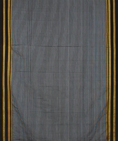 Black Grey Stripes Ilkal Handloom Saree