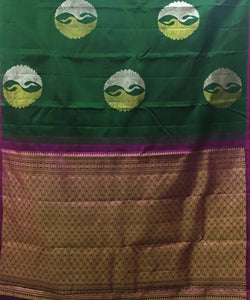 Dark Green Peacock Butta Work Handloom Silk Saree