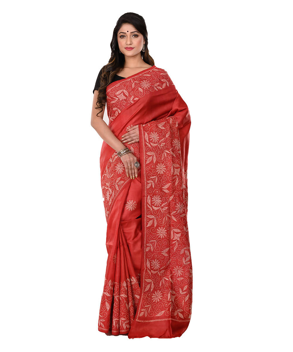Kantha Hand stitched Red Silk Saree