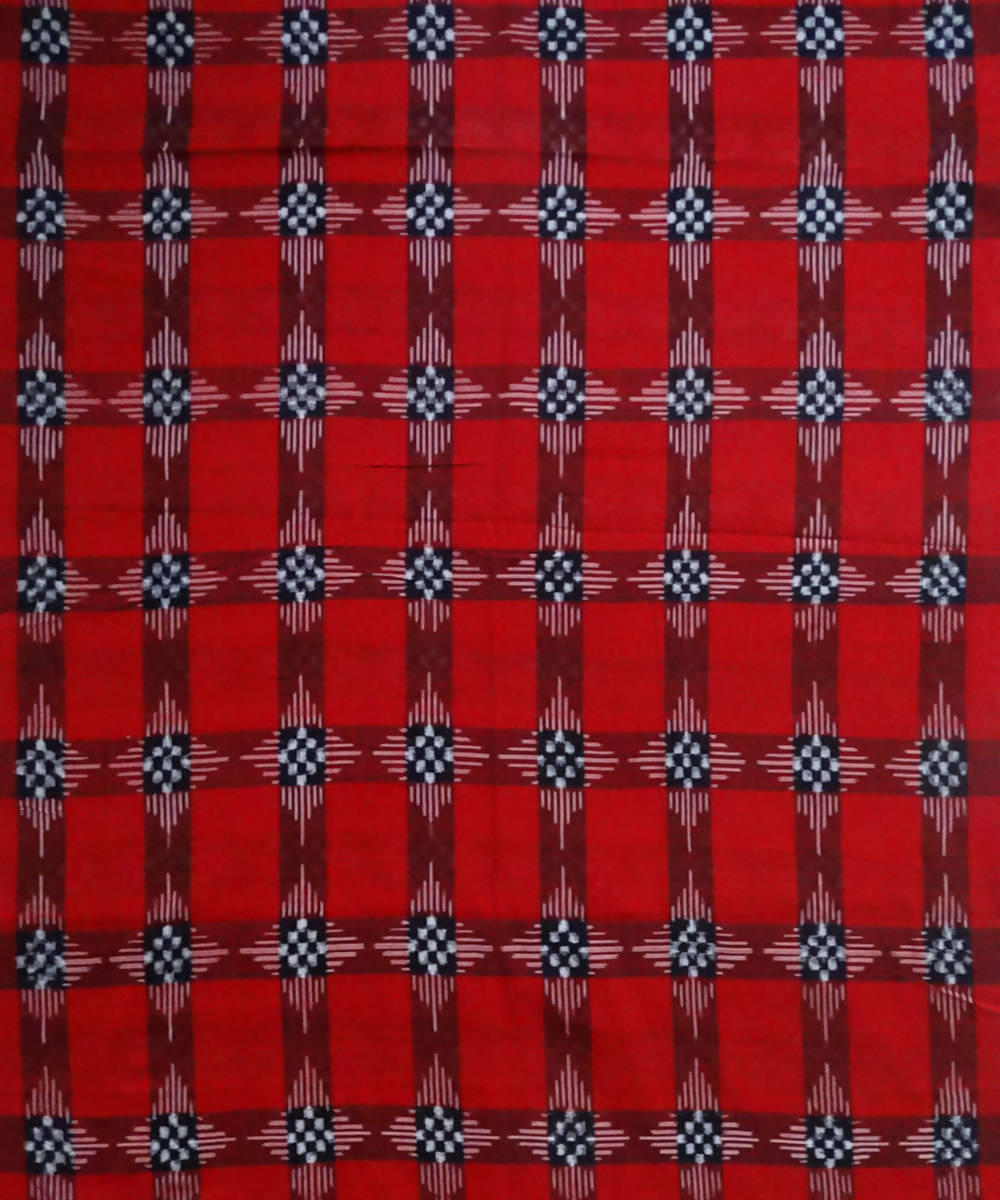 Red Pasapalli ikat Handwoven Cotton Fabric Material