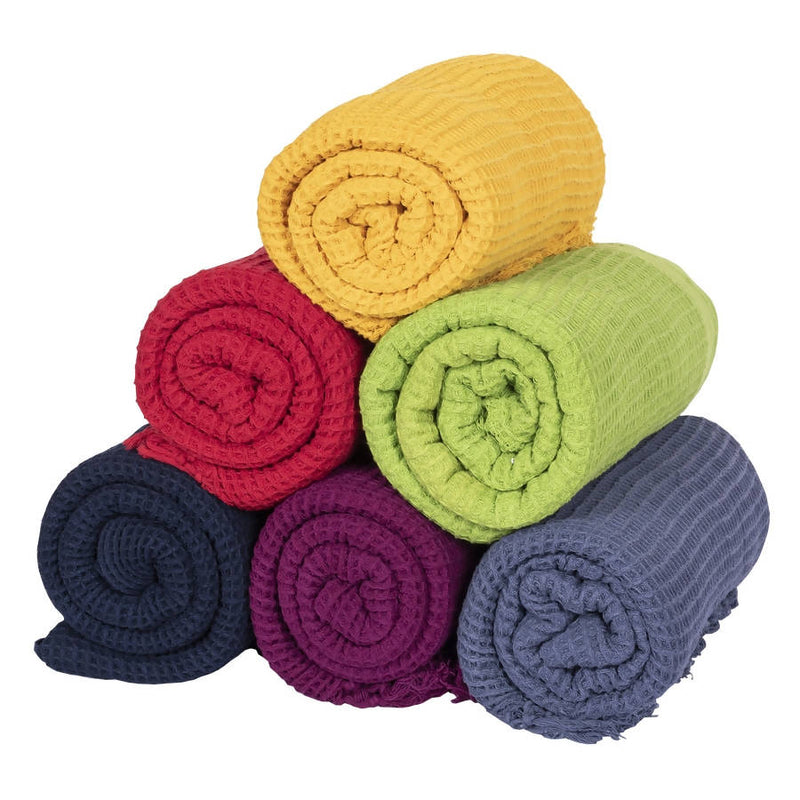 Biswa Bangla Handwoven Cotton Bath Towels (Pack of 6, Light Weight, Honey Comb Pattern, Quick Dry, Skin Friendly)