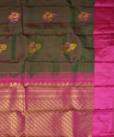 Double Shade Green Pink Handloom Dharmavaram Silk Saree