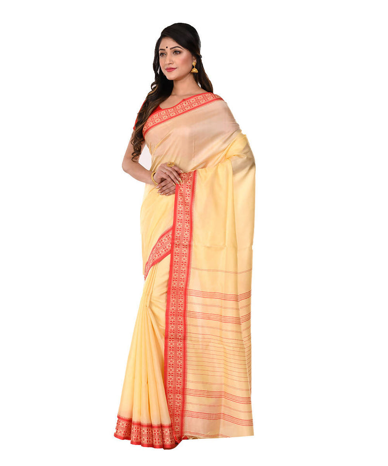 Cream Handloom Bengal Tangail Cotton Saree