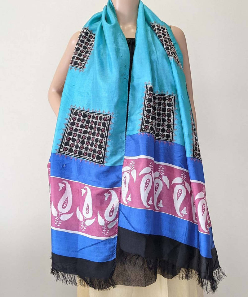 Blue and black kasuti hand embroidery silk stole