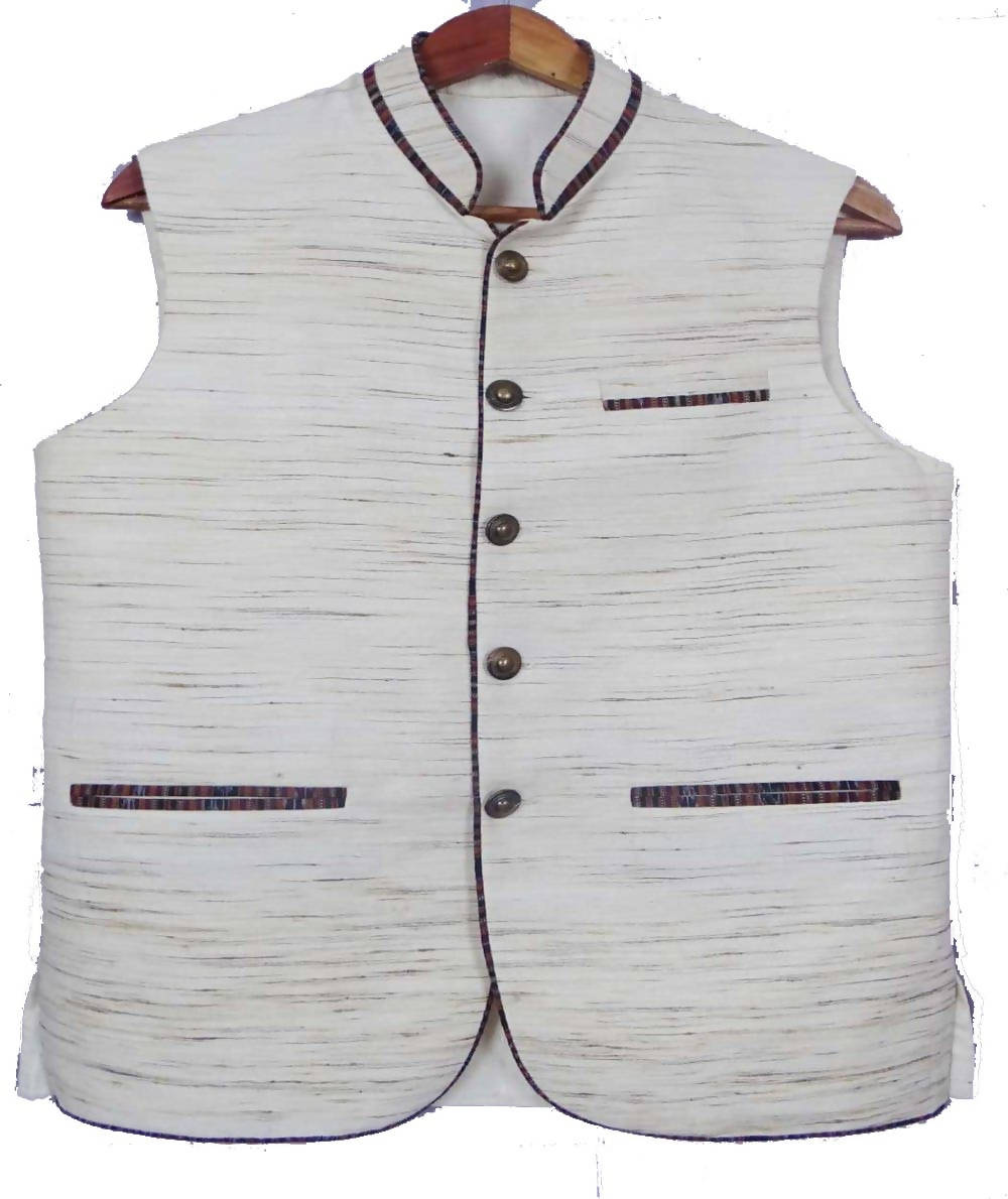 Off White Handwoven Sleeveless Tussar Jacket