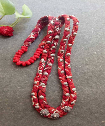 Red with german silver charms thread balls double braided necklace