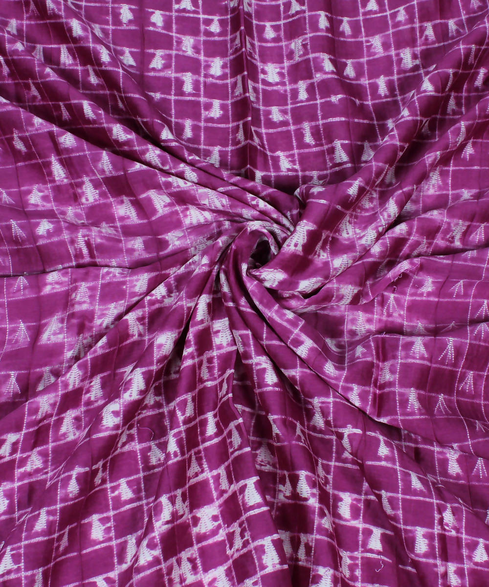 Purple Shibori Print Chanderi Kurta Fabric