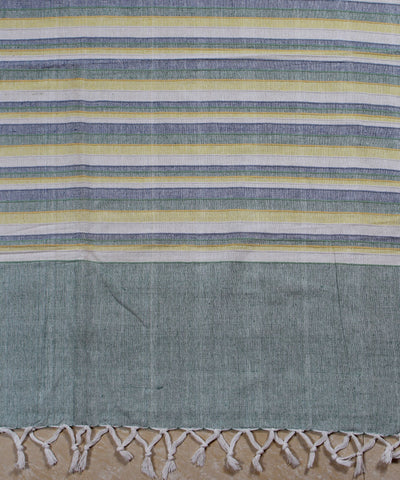 Blue Yellow Stripes Handwoven Bedcover