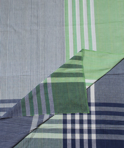 Blue Green Half and Half Handwoven Bedsheet