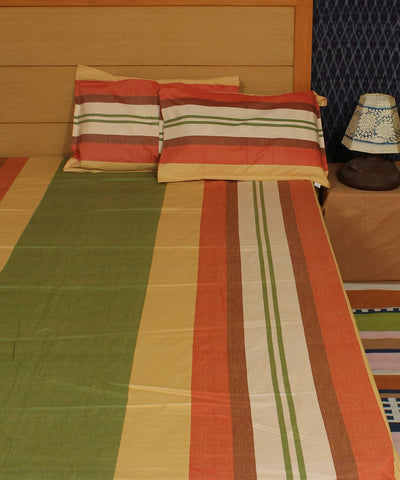 Multi stripe handwoven cotton bed cover