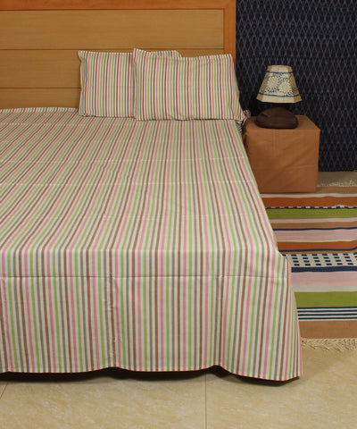 Thin Striped Handwoven Cotton Bed Sheet