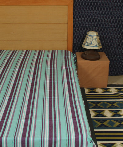 Cyan Wine Striped Handwoven Cotton Bed Sheet