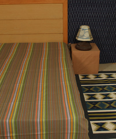 Brown Striped Handwoven Cotton Bed Sheet