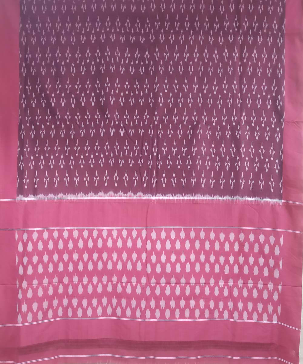 Maroon pink handloom cotton ikkat pochampally saree