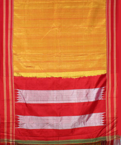 Yellow ochre handwoven red gomi dadi border ilkal saree
