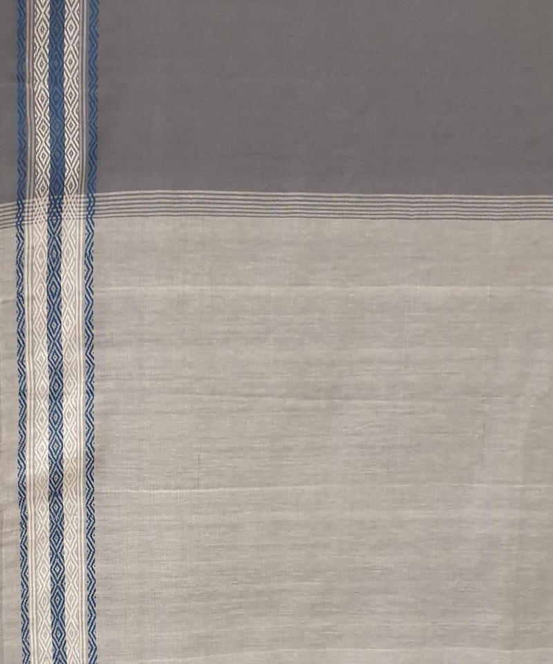 Dark grey handwoven bodo motif cotton assam saree