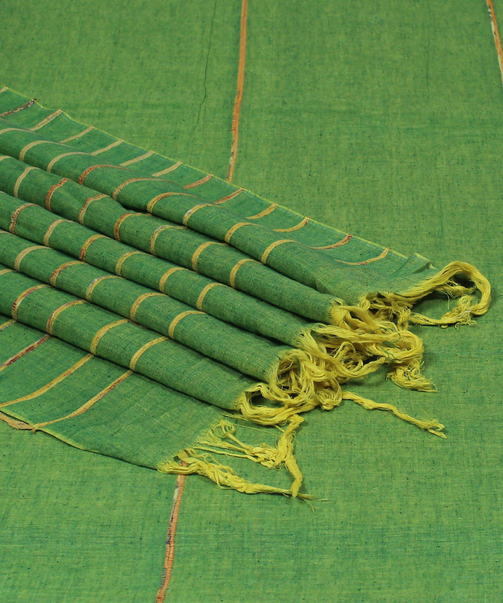 Parrot Green Khadi Kesh Cotton Handloom Saree