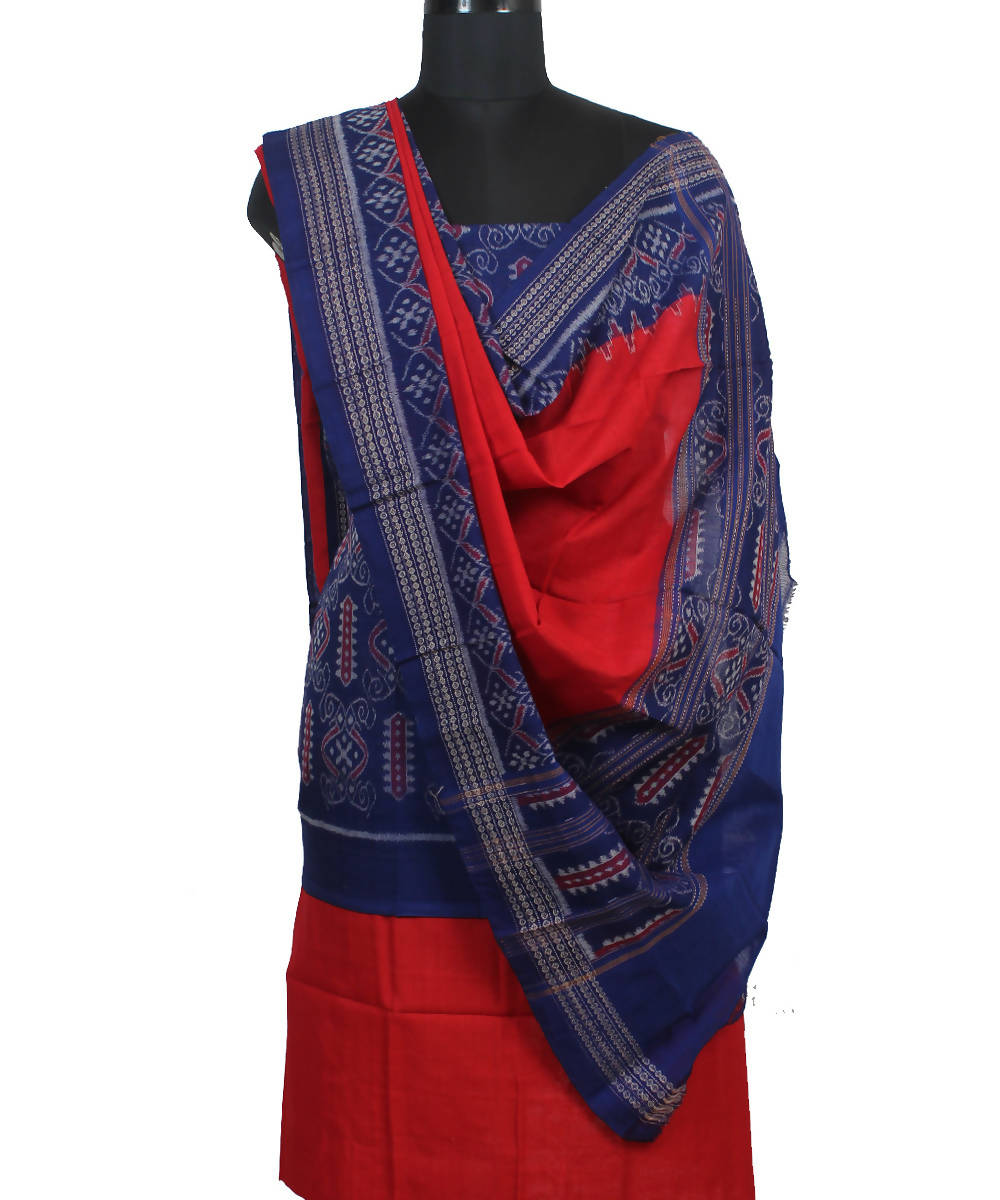 Blue Red Handloom Sambalpuri Cotton Suit Set