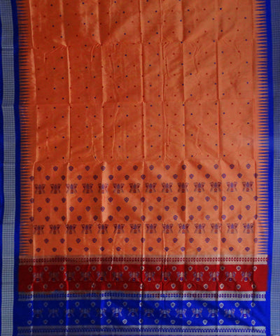 Orange Silk Bomkai Handloom Saree