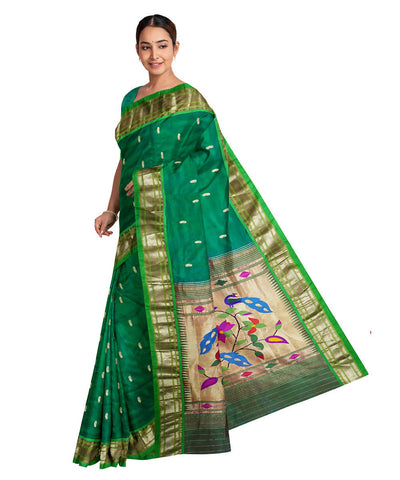 Handwoven peacock green silk paithani saree
