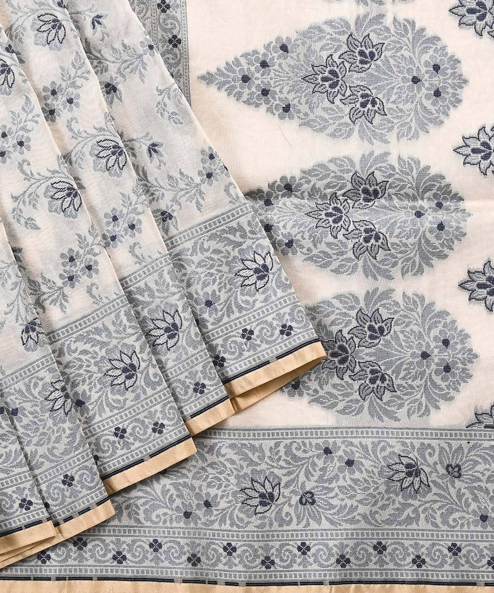 White handwoven pure banarasi saree in summer crepe with paisley floral motif of thread and zari work - kiara crafts