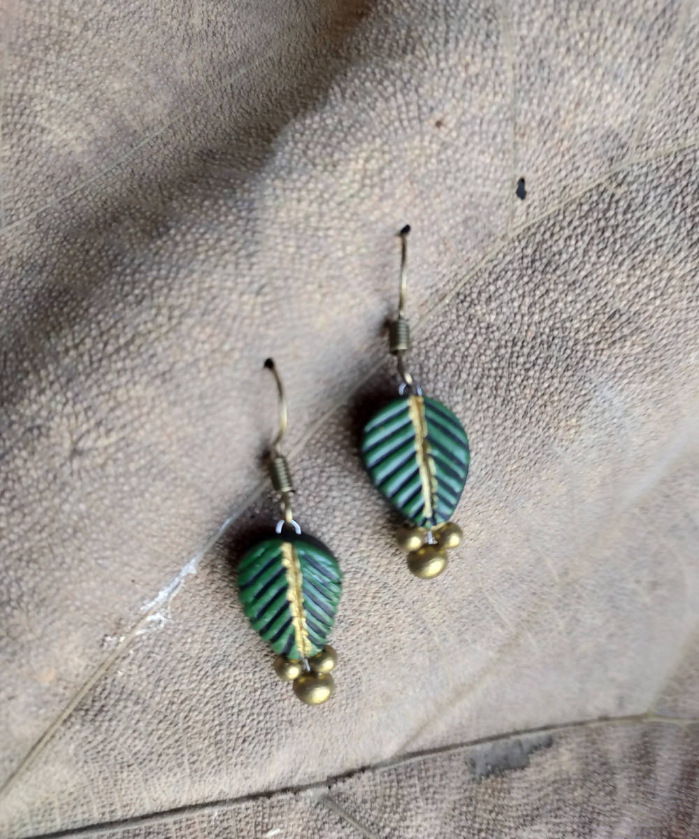handcrafted clay leaf green earthen earring drops