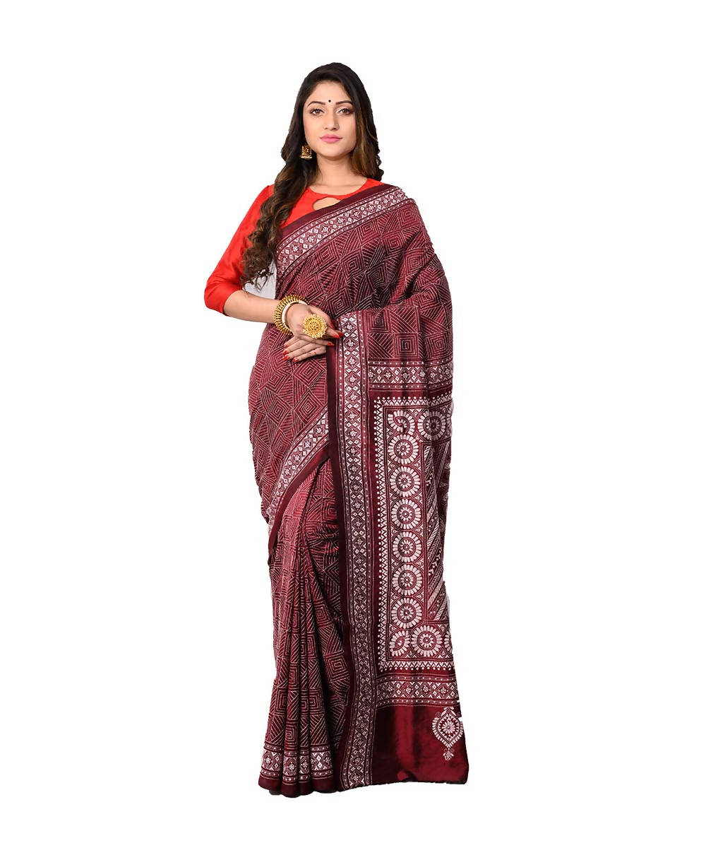 Bengal Handwoven Brown Kantha Stitch Saree