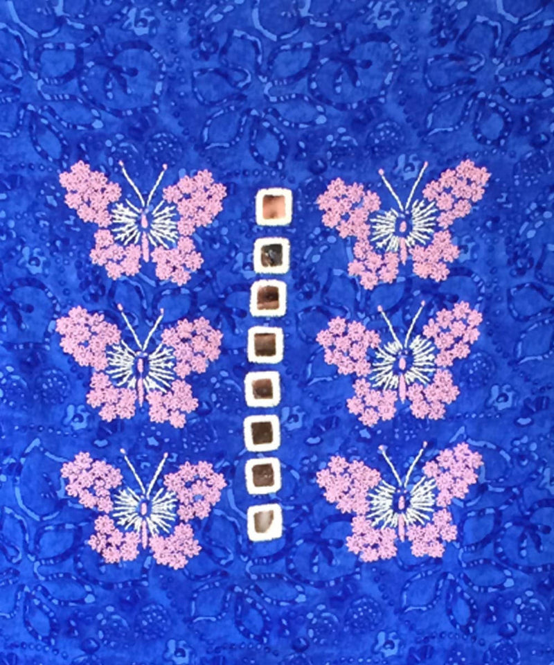 Royal blue butterfly motif rayon kurta fabric