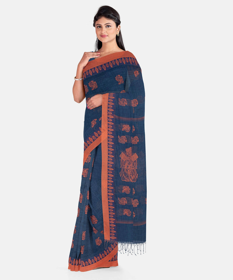 Biswa Bangla Handwoven Handspun Saree - Blue and Rust