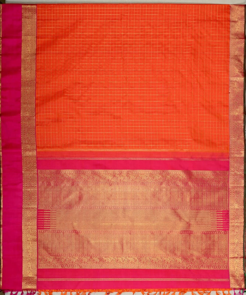 Light orange handloom kanjivaram bridal silk saree