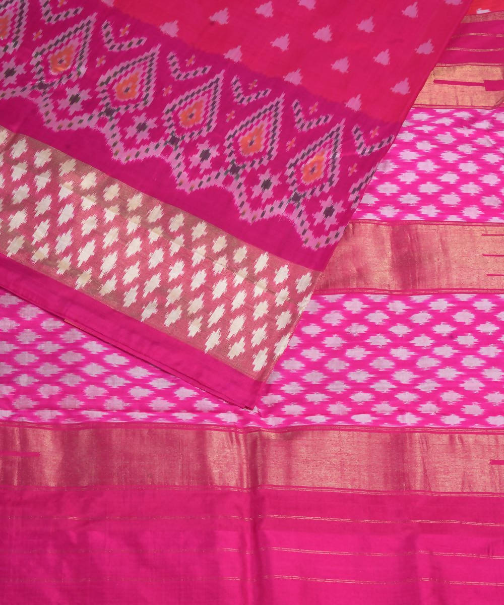 Magenta Pink Handloom Pochampally Silk Saree