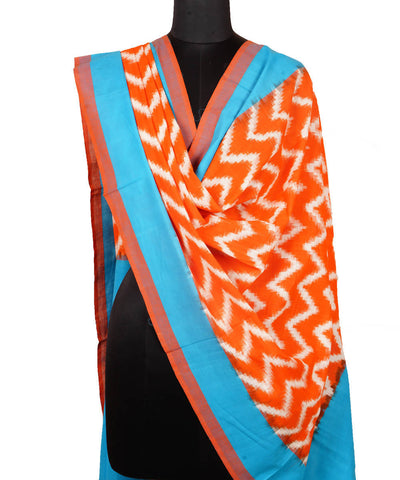 Orange Blue Handloom Ikkat Cotton Dupatta