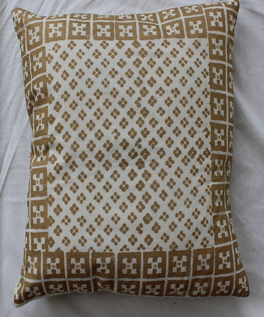 Handblock printed mustard cotton cushion cover