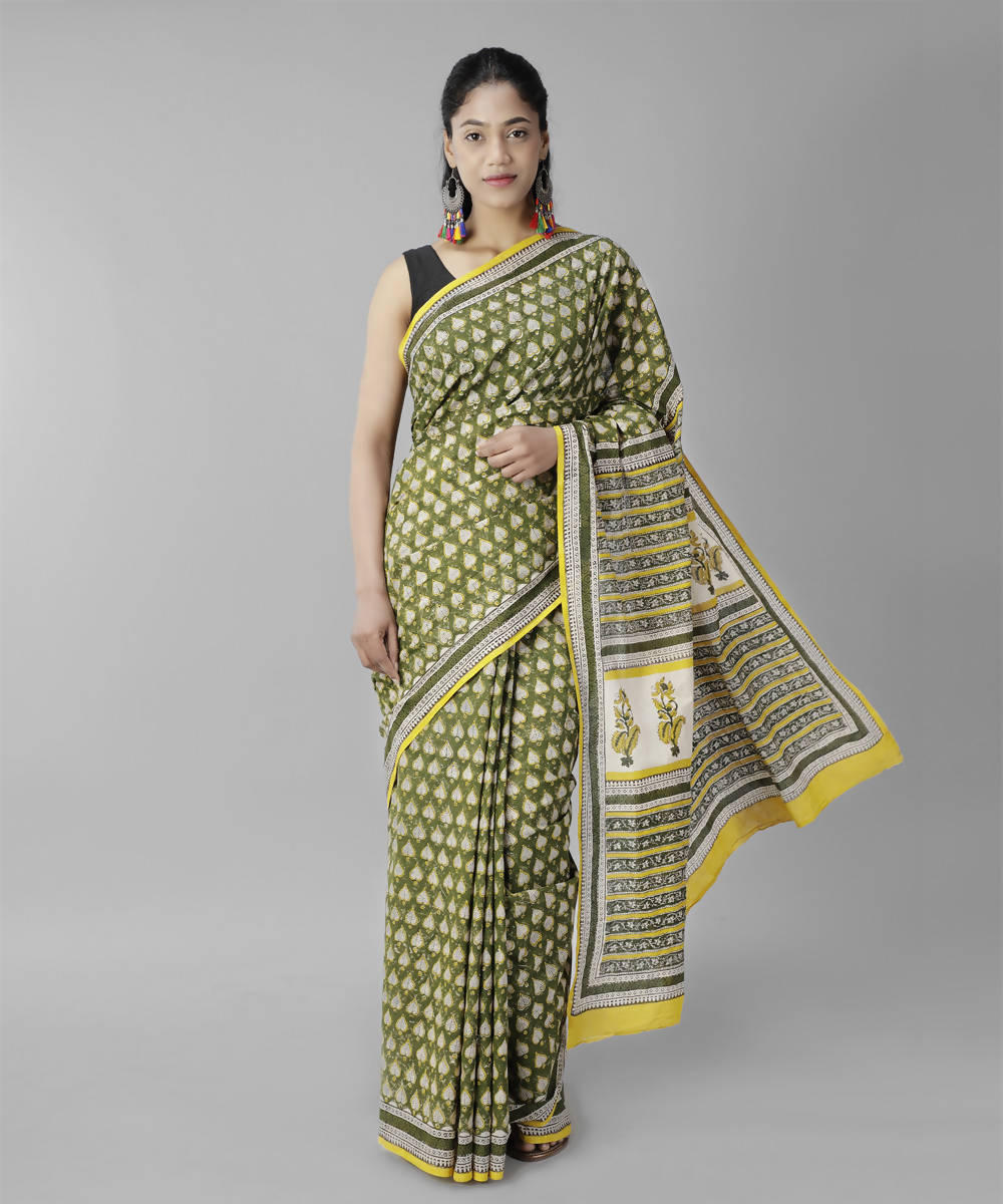 Moss green bagru handblock printed cotton saree