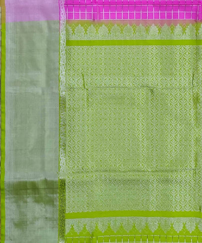 Pink Zari Checks Handwoven Silk Venkatagiri Saree