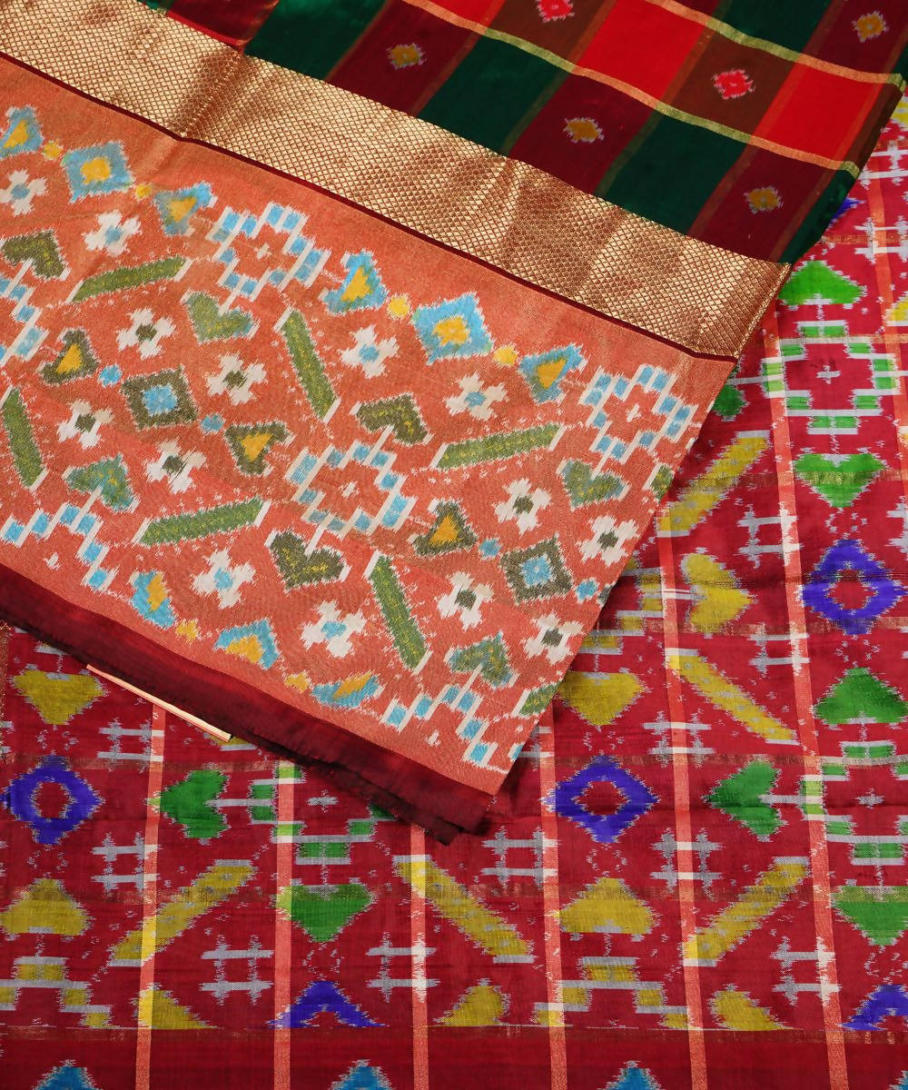 Handloom Multi Check Pochampally Silk Saree