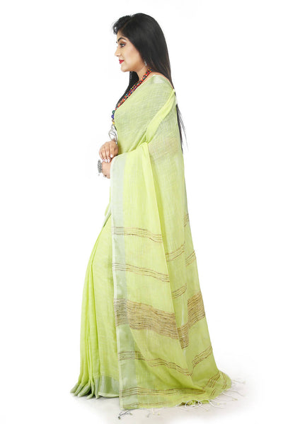 Lime handloom bengal cotton and linen saree