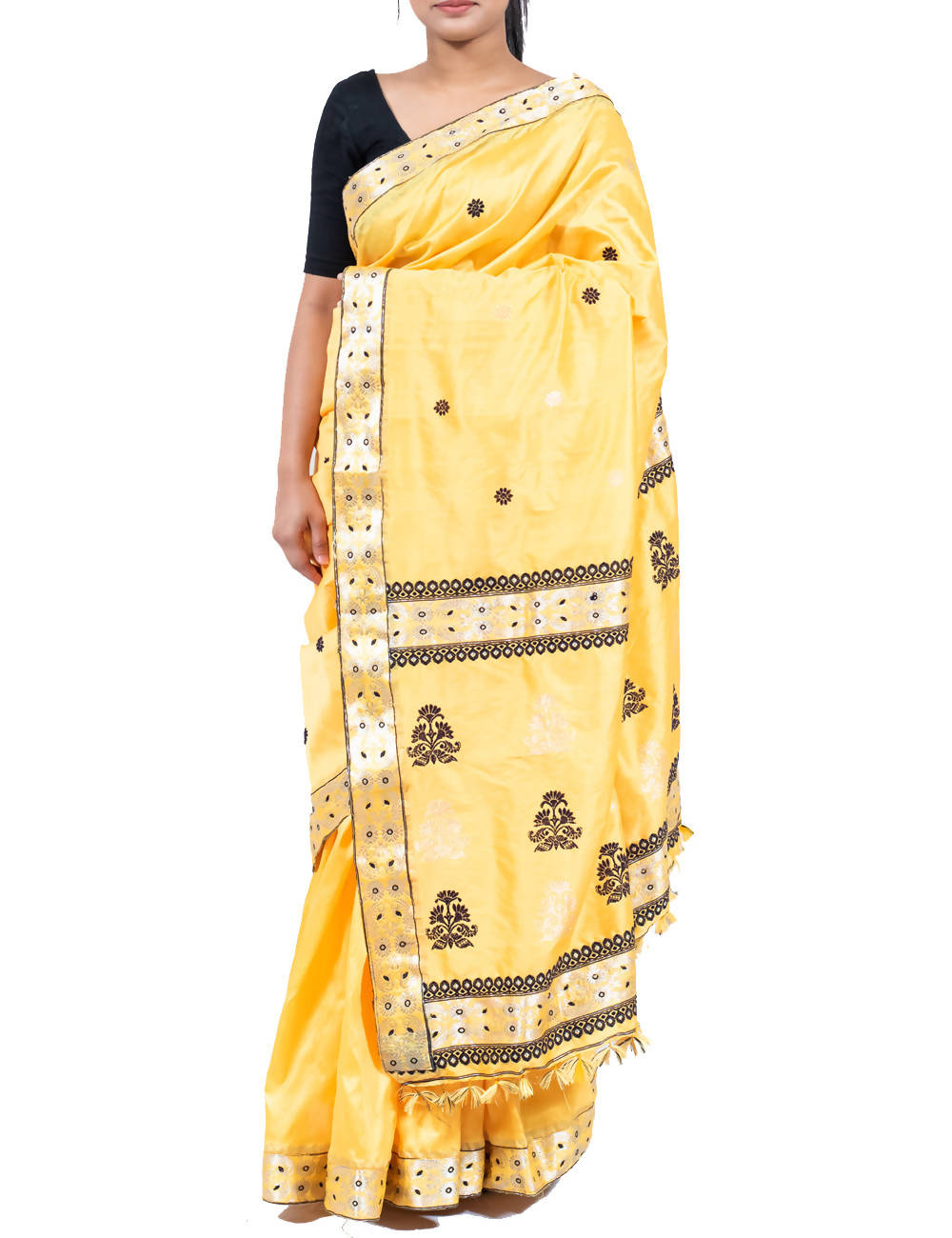 Daffodil Yellow Cotton Assam Handloom Saree