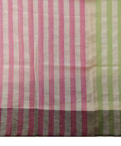 Pink Green White  Stripes Handwoven Cotton Scarf