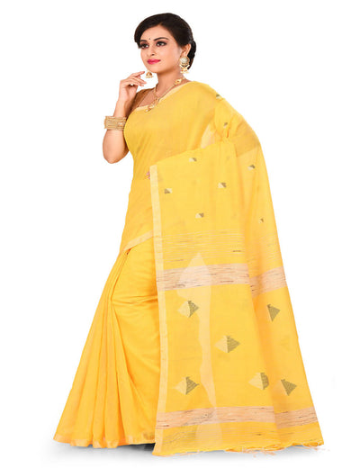 Yellow Bengal Jamdani ghiccha Handloom cotton silk saree