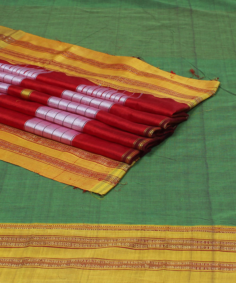 Light Green Handloom Ilkal Cotton Saree