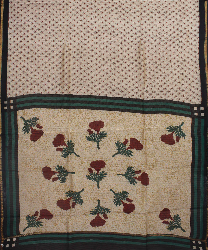 Beige Hand Block Printed Chanderi Saree