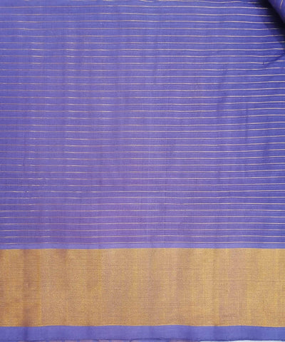 Lavender with gold shimmer border Handwoven Venkatagiri cotton Saree