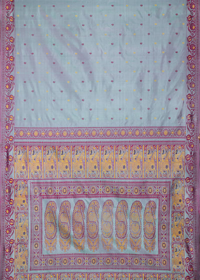 Biswa Bangla Handwoven Grey Pink Baluchari Silk Pargalani Saree